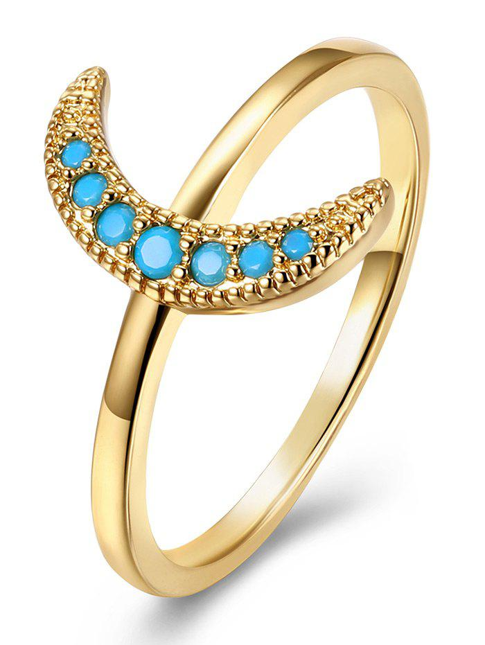 Faux Gem Moon Circle Finger Ring - GOLDEN 9