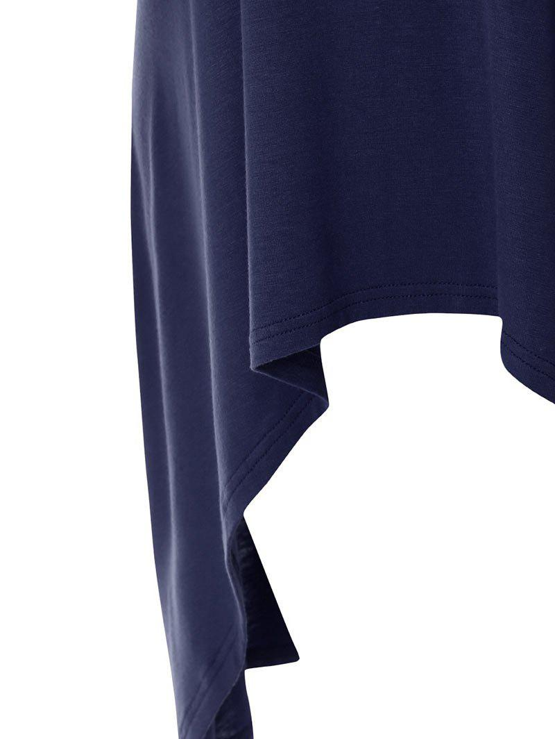 Plus Size High Low Button Embellished Tee - DEEP BLUE 4XL