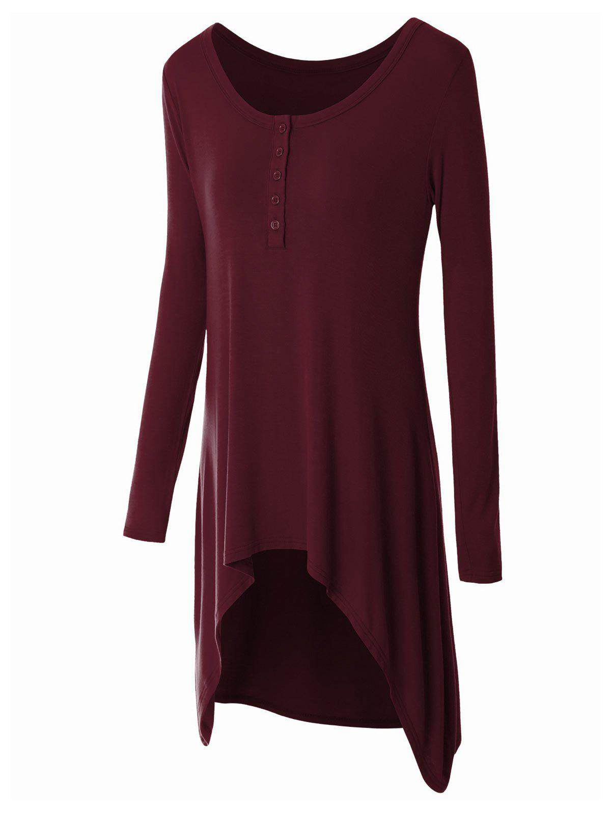 Plus Size High Low Button Embellished Tee - DEEP RED 4XL