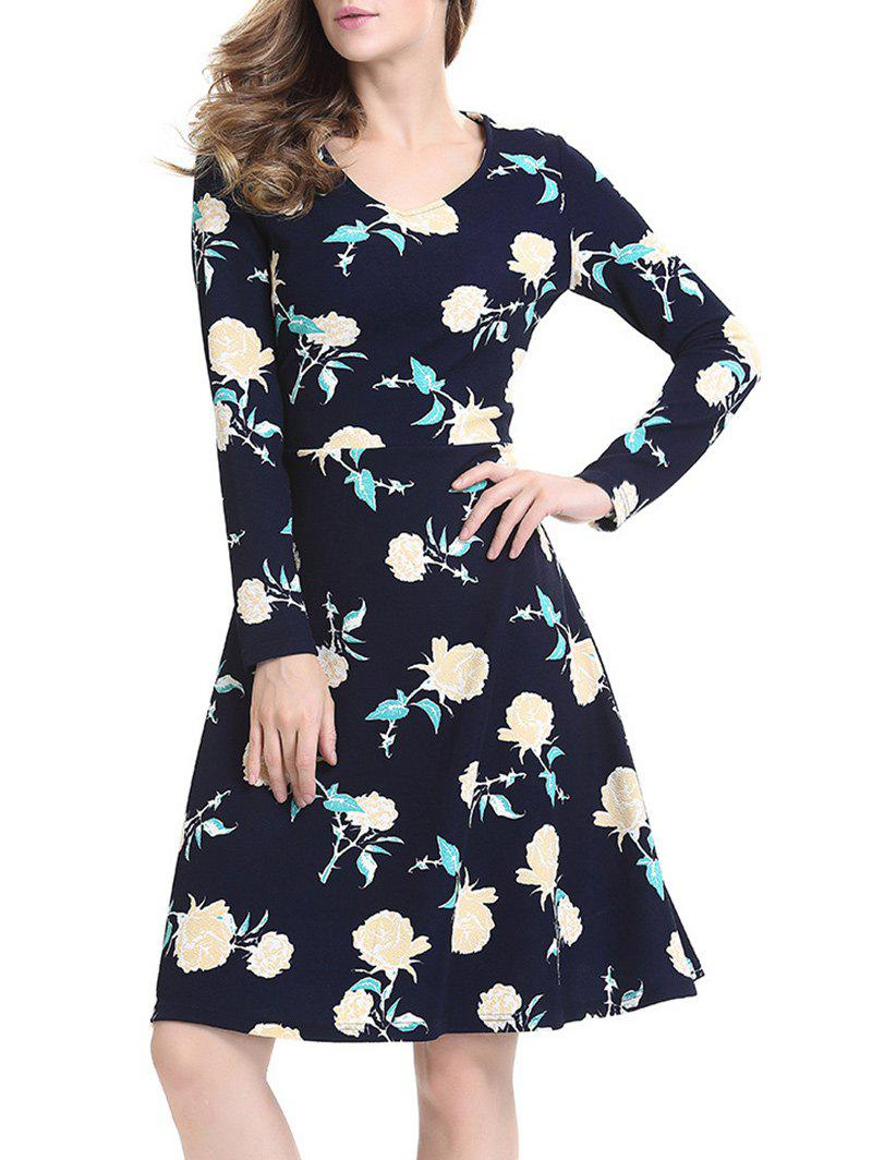Floral Swing Dress with Long Sleeves long sleeves layered swing sweater dress