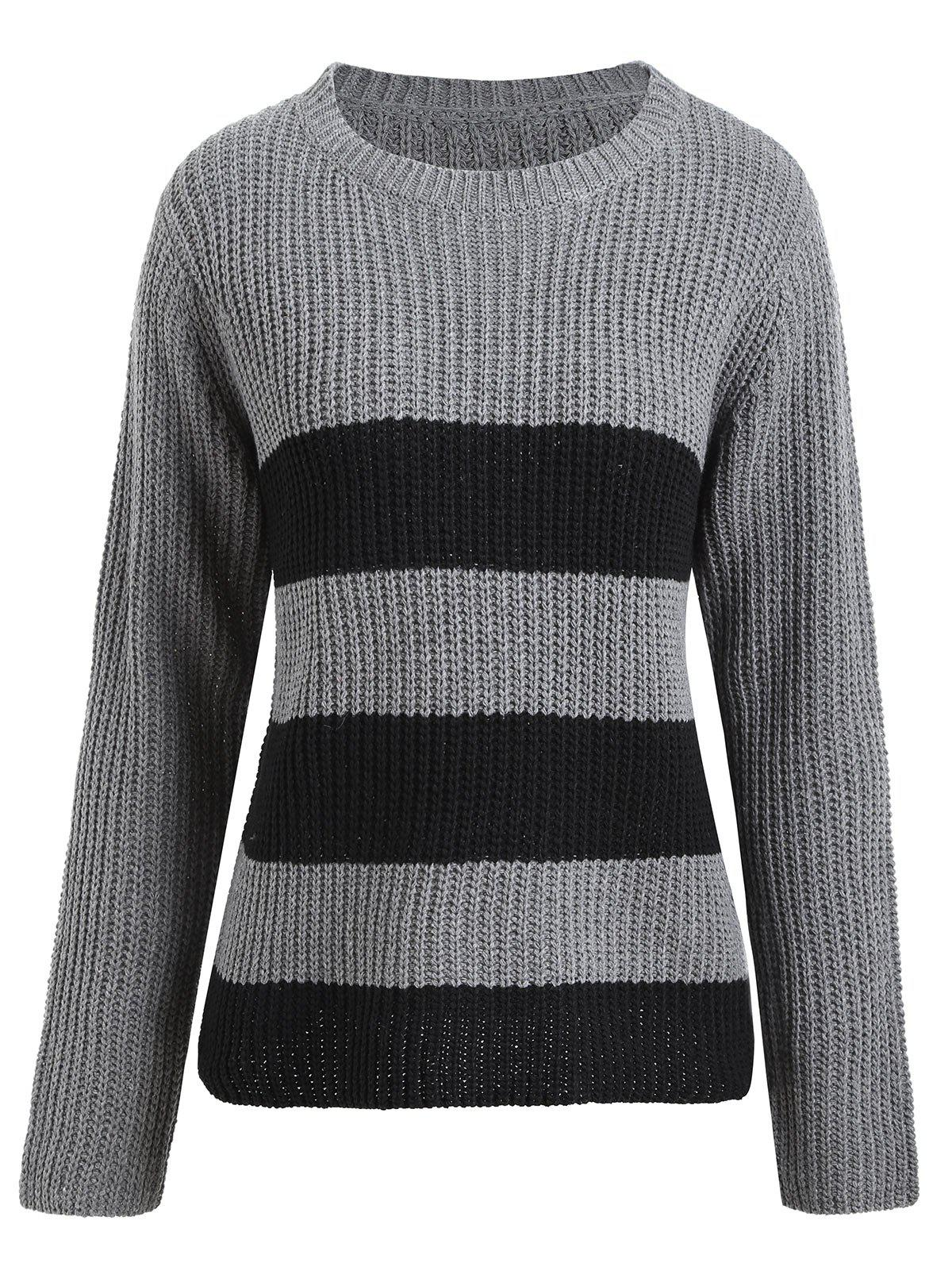 Plus Size Striped Ribbed Sweater, GRAY, ONE SIZE in Plus Size ...