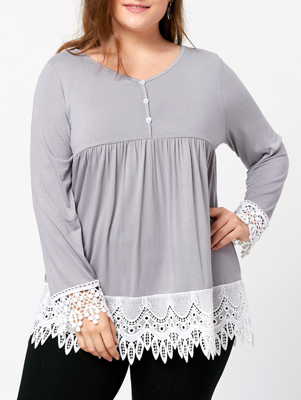 Plus Size Lace Trim Babydoll Top - LIGHT GRAY 4XL