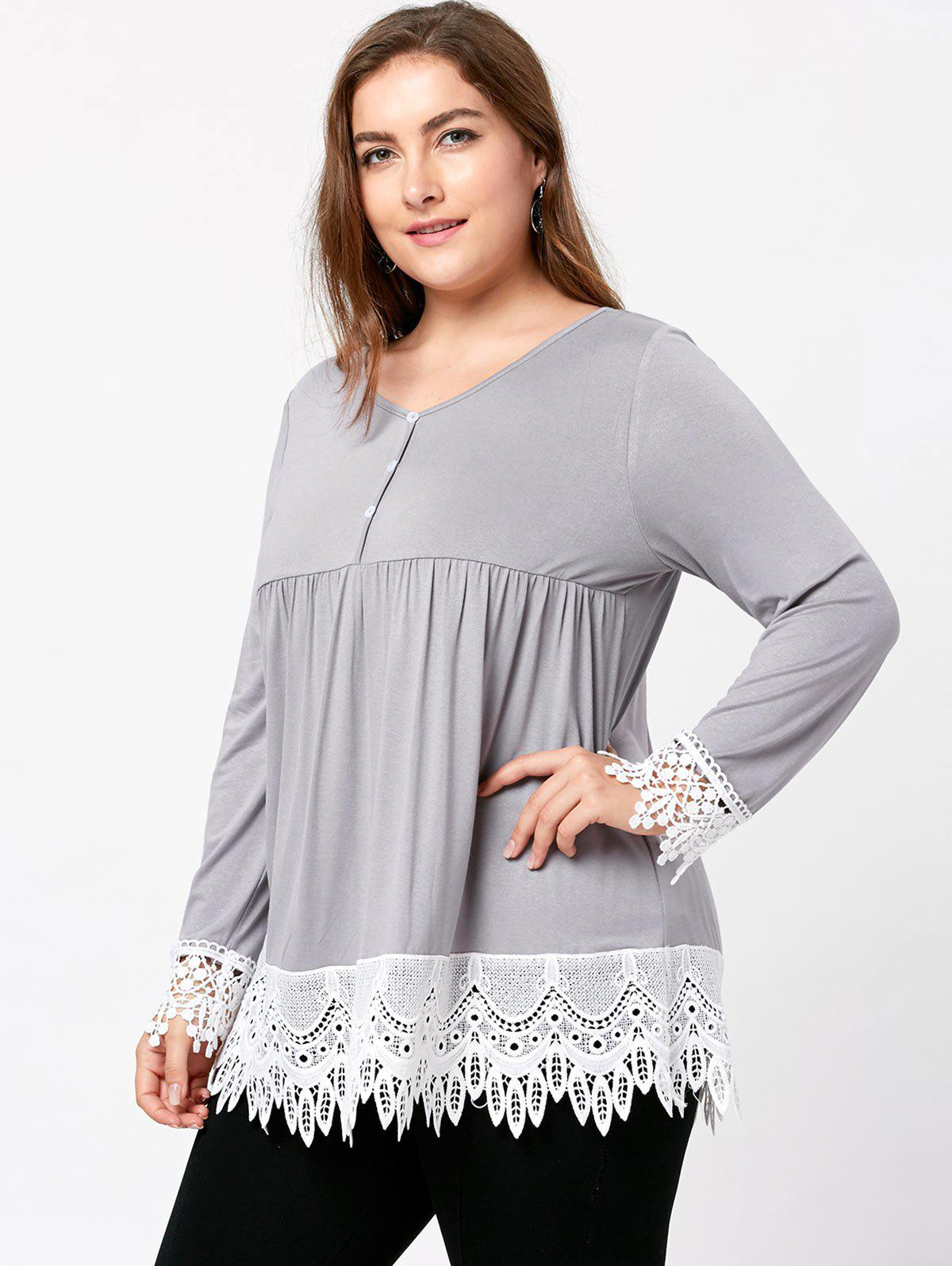 Plus Size Lace Trim Babydoll Top - LIGHT GRAY 5XL