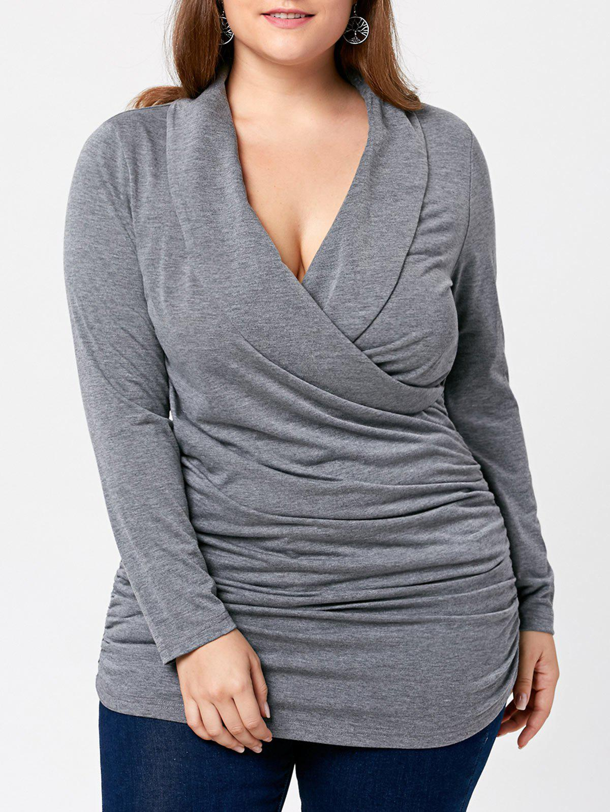 Plus Size Plunging Neck Ruched Surplice T-shirt scrunch ruched surplice t shirt