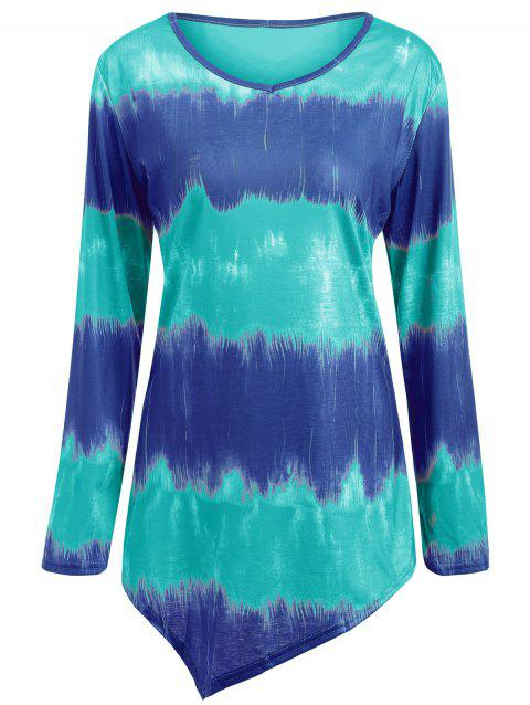 Plus Size Tie Dye Longline Tee - BLUE/GREEN 5XL
