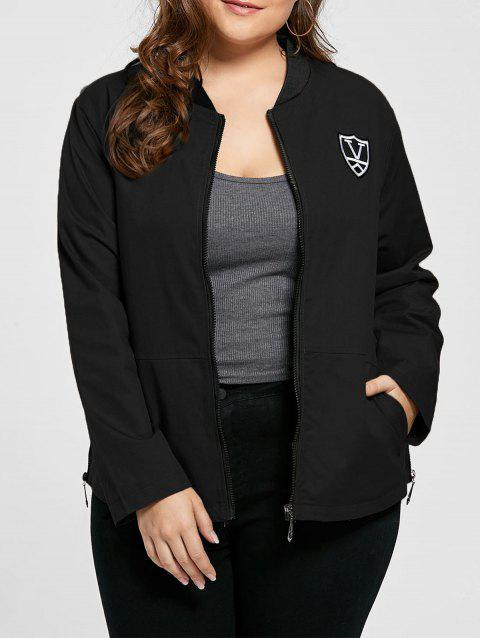 Plus Size Embroidered Pocket Zipper Jacket - BLACK 2XL