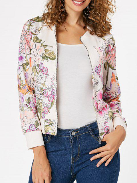 Zip Up Printed Long Sleeve Jacket - OFF WHITE M