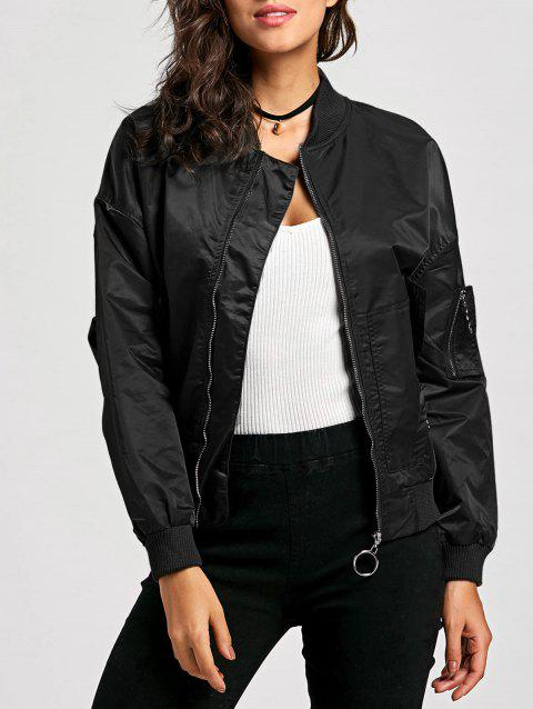 Zip Up Pilot Jacket - BLACK M