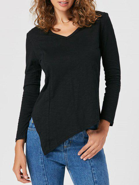 Cut Out Asymmetrical Tunic T-shirt - BLACK 2XL