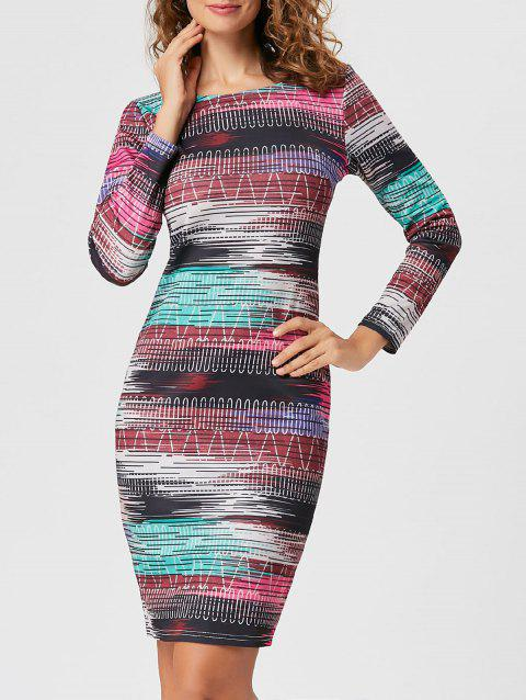 Long Sleeve Formal Print Bodycon Dress - COLORMIX 2XL