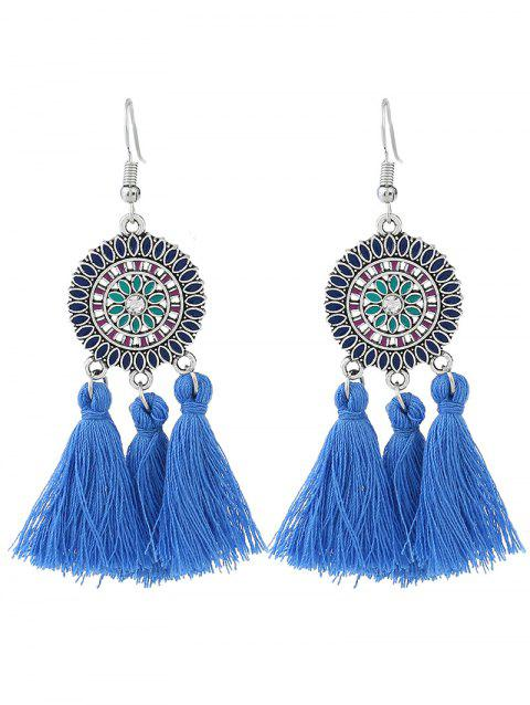 Bohemian Round Floral Tassel Hook Earrings - BLUE