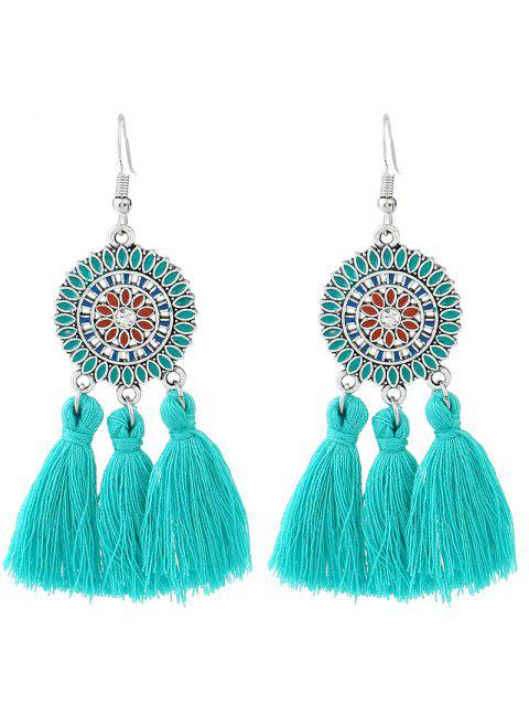 Bohemian Round Floral Tassel Hook Earrings - LAKE BLUE