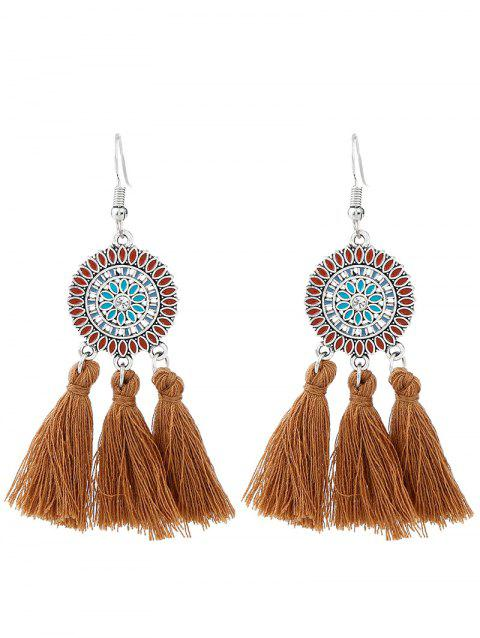 Bohemian Round Floral Tassel Hook Earrings - BROWN