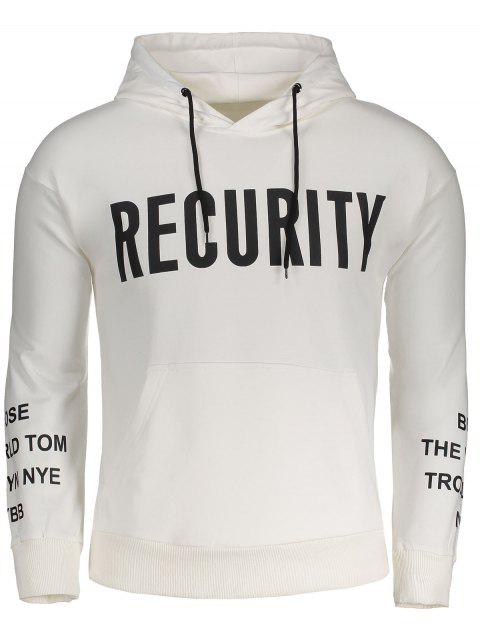 Recurity Graphic Front Pocket Mens Hoodie - WHITE XL