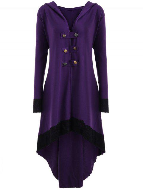 Lace-up Plus Size Hooded High Low Coat - PURPLE 4XL