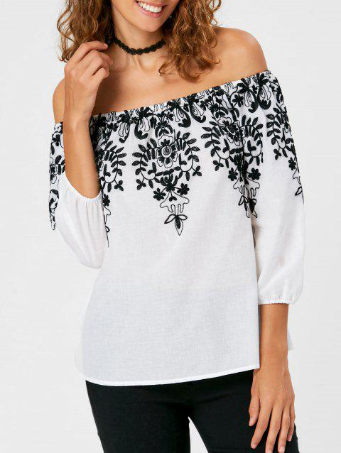 Broderie monochrome Off The Shoulder Blouse - Blanc L