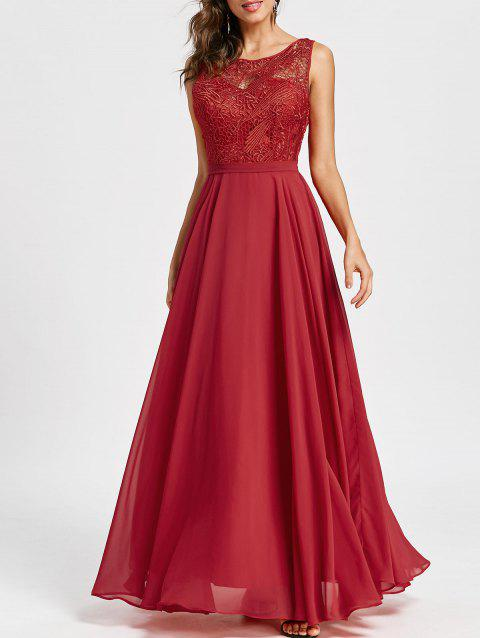 Lace Panel Sleeveless Evening Dress - RED XL