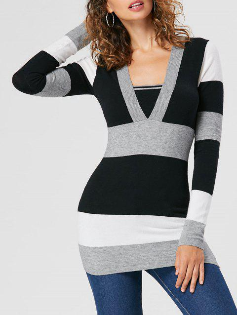 dd70cfb76bb 2019 Pull Rayé à Taille Empire Noir 2XL In Pulls   Cardigans Online ...