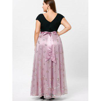 Plus Size Sequined Decorated Tulle Evening Dress - PALE PINKISH GREY PALE PINKISH GREY