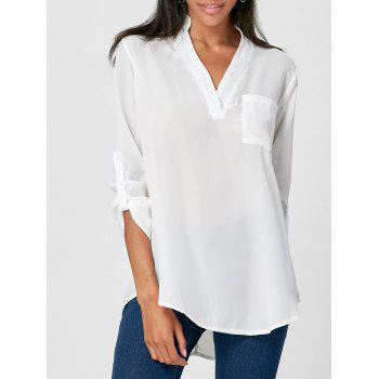 Simple V-Neck Solid Color 3/4 Sleeve Women's Blouse
