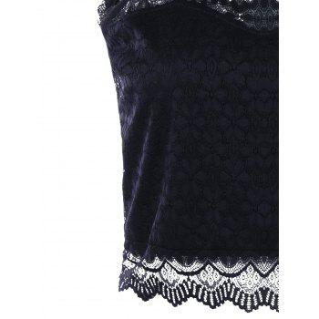 Open Back Lace Tank Top - BLACK L