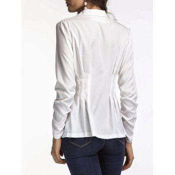 Fitted Peplum Blazer - WHITE S