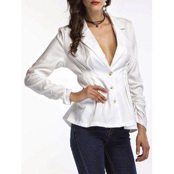Fitted Peplum Blazer - WHITE WHITE