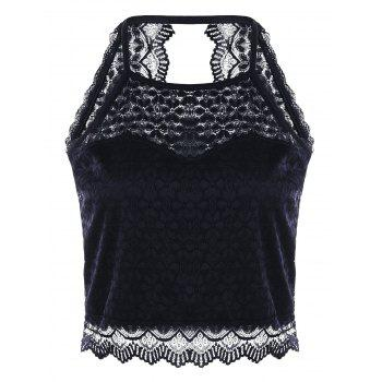 Open Back Lace Tank Top - BLACK BLACK