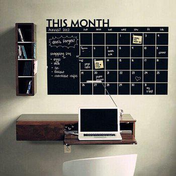 Blackboard Calendar Record Printed Home Decor Wall Sticker - BLACK