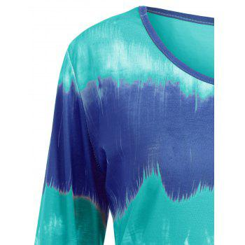 Plus Size Tie Dye Longline Tee - BLUE/GREEN 3XL