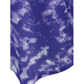 Plus Size Asymmetrical Tie Dye Longline Tee - PURPLE 5XL