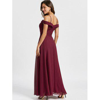 Spaghetti Strap Cold Shoulder Maxi Evening Dress - WINE RED WINE RED