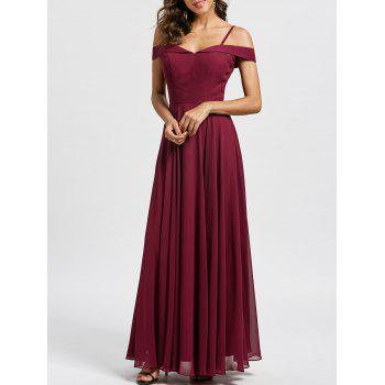 Spaghetti Strap Cold Shoulder Maxi Evening Dress
