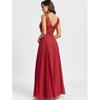 Lace Panel Sleeveless Evening Dress - RED L