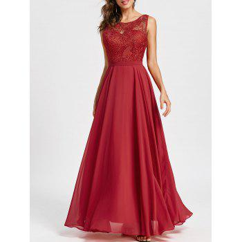 Lace Panel Sleeveless Evening Dress - RED 2XL