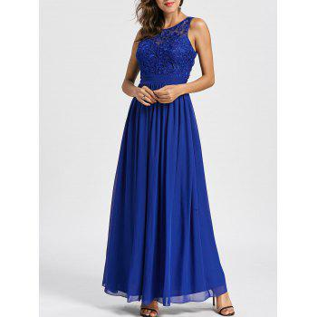 Floral Lace Empire Waist Open Back Evening Dress