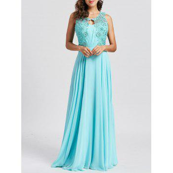Rhinestone Embellished Floral Lace Keyhole Evening Dress