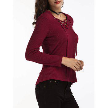 Lace Up Ribbed Sweater - WINE RED WINE RED