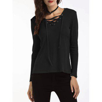 Lace Up Ribbed Sweater - BLACK BLACK