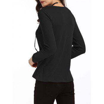 Lace Up Ribbed Sweater - BLACK S