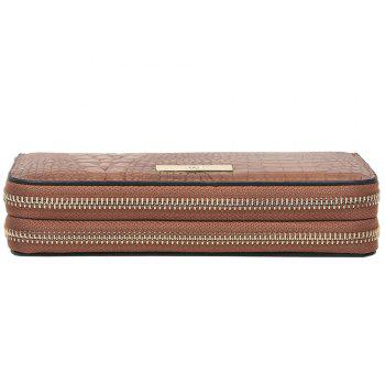 Double Zippers Embossing Leather Wristlet Wallet - BROWN HORIZONTAL
