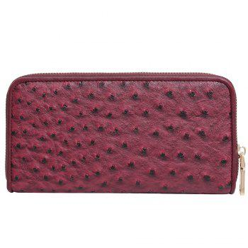 Faux Leather Zipper Around Wallet - RED RED