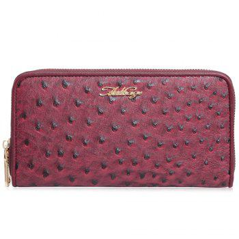 Faux Leather Zipper Around Wallet - RED HORIZONTAL