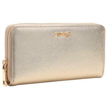 Zipper Around Letter Faux Leather Clutch Wallet - GOLDEN GOLDEN