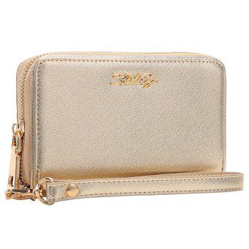 Faux Leather Letter Zipper Around Clutch Bag - Or HORIZONTAL