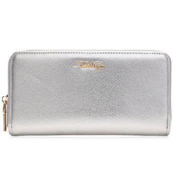 Zipper Around Letter Faux Leather Clutch Wallet - SILVER HORIZONTAL