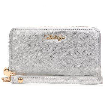 Faux Leather Letter Zipper Around Clutch Bag - SILVER SILVER
