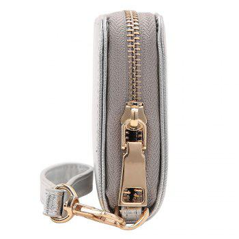 Faux Leather Letter Zipper Around Clutch Bag - SILVER HORIZONTAL