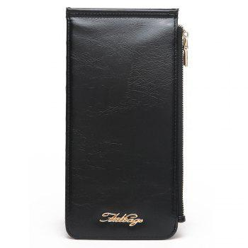 Faux Leather Zip Wallet - BLACK BLACK