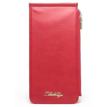 Faux Leather Zip Wallet - RED VERTICAL